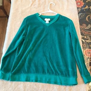 Studio Works velvety green top size small Cozy!
